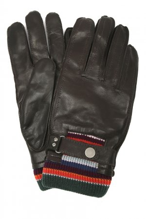 Коричневые кожаные перчатки PAUL SMITH. Цвет: коричневый
