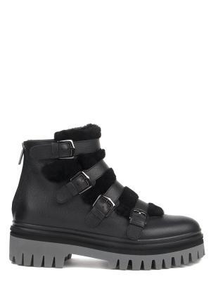 Кожаные ботинки с мехом Alberto Guardiani. Цвет: серый