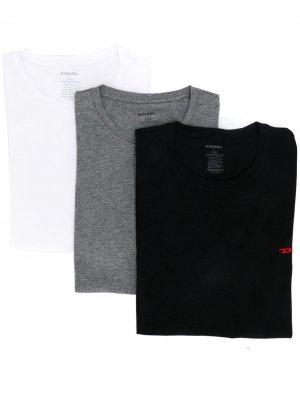 Комплект из трех футболок с вышитым логотипом Diesel. Цвет: белый