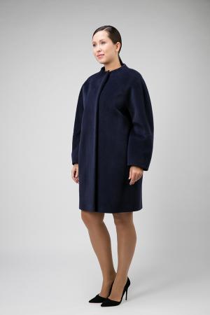 Шерстяное пальто средней длины для большого размера Elisabetta. Цвет: темно-синий
