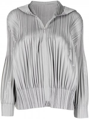 Плиссированная куртка на молнии Pleats Please Issey Miyake. Цвет: серый