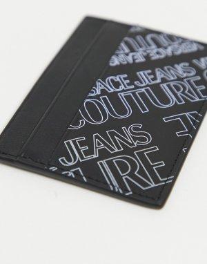 Черная кредитница с фиолетовым принтом логотипа -Черный цвет Versace Jeans Couture