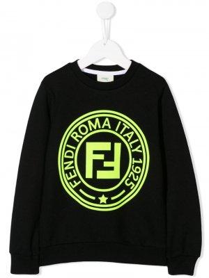 Толстовка с логотипом Fendi Kids. Цвет: черный