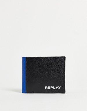 Контрастный бумажник двойного сложения с логотипом -Черный цвет Replay