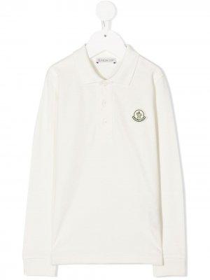 Рубашка поло с нашивкой-логотипом Moncler Enfant. Цвет: белый
