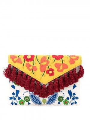 Клатч с цветочной вышивкой и кисточками Carolina Herrera. Цвет: белый