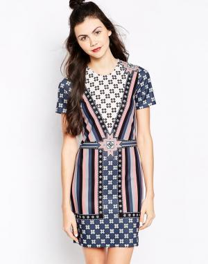 Платье с геометрическим принтом Emma Cook. Цвет: peach