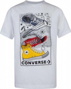 Футболка для мальчиков Mixed Media Sneaker Stack, размер 152 Converse. Цвет: белый