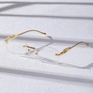 Мужские очки без оправы SHEIN. Цвет: золотистый