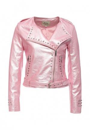 Куртка кожаная Softy SO017EWROZ60. Цвет: розовый