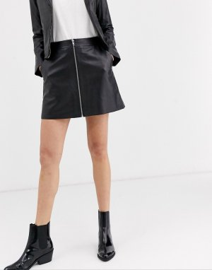Кожаная юбка-трапеция с молнией -Черный Muubaa