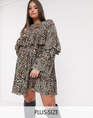 Свободное платье с плиссировкой и леопардовым принтом -Мульти Missguided Plus