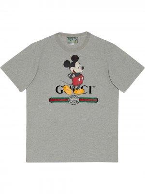 Футболка с логотипом из коллаборации Disney Gucci. Цвет: серый