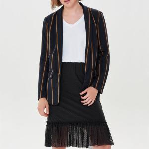 Куртка-блейзер прямого покроя в полоску ONLY. Цвет: темно-синий