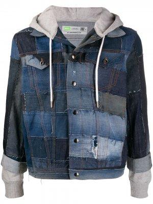 Джинсовая куртка в технике пэчворк Diesel. Цвет: синий