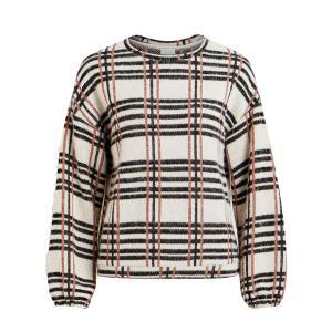 Пуловер в клетку с круглым вырезом и длинными рукавами VILA. Цвет: экрю