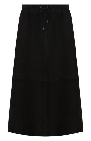 Кожаная юбка Army Yves Salomon. Цвет: черный