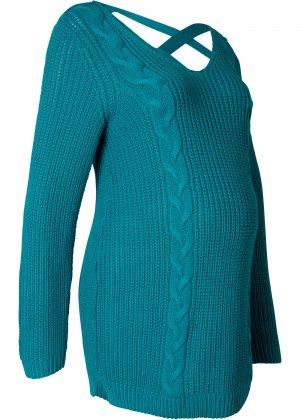 Пуловер для беременных bonprix. Цвет: сине-зеленый