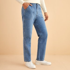 Мужской Джинсы с прямыми штанинами карманом SHEIN. Цвет: синий цвет средней стирки