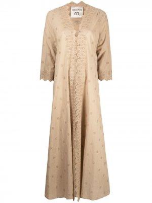 Платье макси с вырезами Semicouture. Цвет: нейтральные цвета