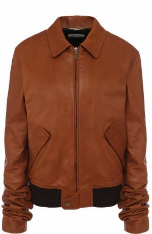Однотонная кожаная куртка с отложным воротником Saint Laurent. Цвет: коричневый