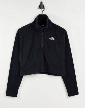 Черный укороченный флисовый пуловер с воротом на молнии 1/4 100 Glacier-Черный цвет The North Face