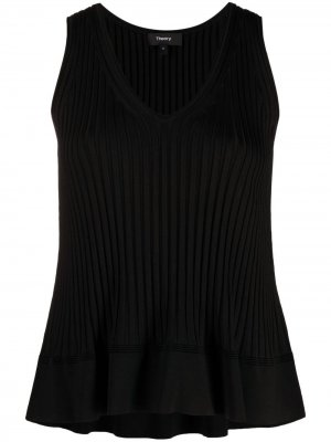 Ribbed knit V-neck top Theory. Цвет: черный