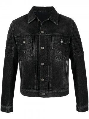 Джинсовая куртка с карманами и логотипом Balmain. Цвет: черный