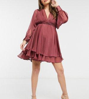 Свободное платье мини со сборками на талии и шнуровкой спине ASOS DESIGN Maternity-Красный Maternity
