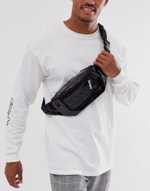 Черная сумка-кошелек на пояс с карманом -Черный Slydes