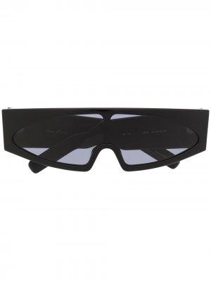 Солнцезащитные очки-маска в многоугольной оправе Rick Owens. Цвет: черный