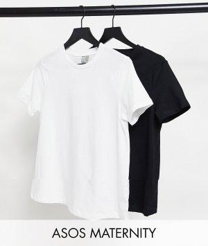 Набор из 2 футболок с круглым вырезом черного и белого цветов органического хлопка ASOS DESIGN Maternity Ultimate СКИДКА-Многоцветный