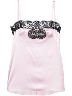 Камисоль с кружевной оторочкой заплаткой логотипом Dolce & Gabbana. Цвет: розовый