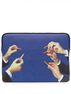 Чехол для ноутбука с принтом Seletti. Цвет: синий