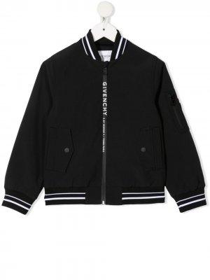 Бомбер с логотипом Givenchy Kids. Цвет: черный