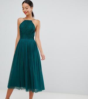 Премиум-платье миди для выпускного с юбкой из тюля ASOS DESIGN-Зеленый Tall