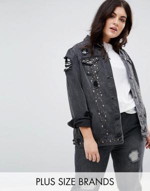 Джинсовая куртка с заклепками New Look Curve Plus. Цвет: черный