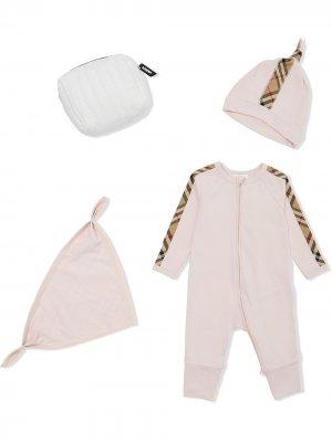 Комплект для новорожденного в клетку Vintage Check Burberry Kids. Цвет: розовый