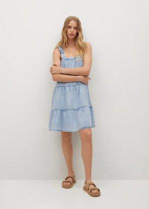 Короткое платье с воланами - Sibila Mango. Цвет: синий средний