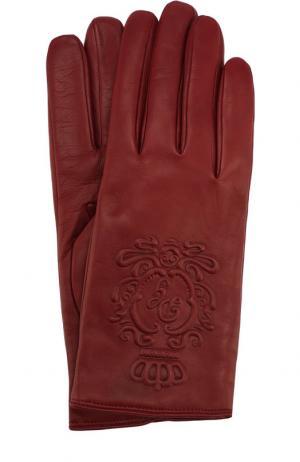 Кожаные перчатки Dolce & Gabbana. Цвет: бордовый