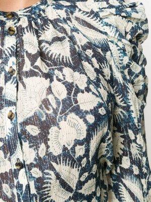 Блузка с длинными рукавами и цветочным принтом Ulla Johnson. Цвет: синий