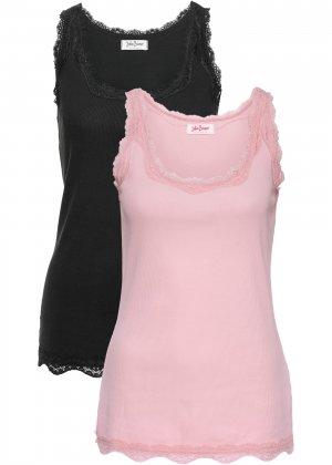 Трикотажная майка-лапша (2 штуки в упаковке) bonprix. Цвет: розовый