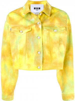 Укороченная джинсовая куртка с принтом тай-дай MSGM. Цвет: желтый