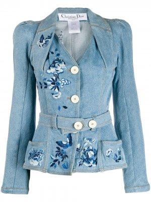 Джинсовая куртка с поясом pre-owned Christian Dior. Цвет: синий