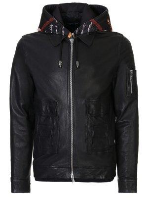 Куртка кожаная с капюшоном LES ECLAIRES