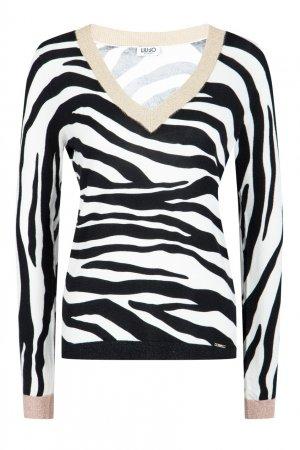 Пуловер с контрастной отделкой Liu Jo. Цвет: черный