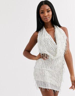 Кремовое платье мини со свободным воротом и отделкой -Белый Goddiva