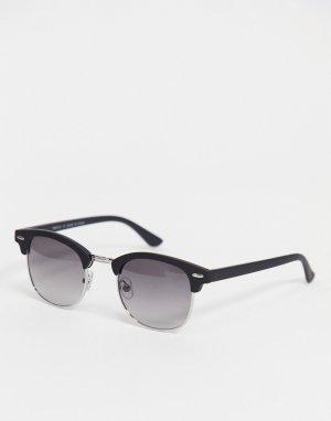 Черные солнцезащитные очки в стиле ретро -Черный River Island