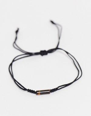 Черный браслет-шнурок на ногу с тигровым глазом -Черный цвет ASOS DESIGN