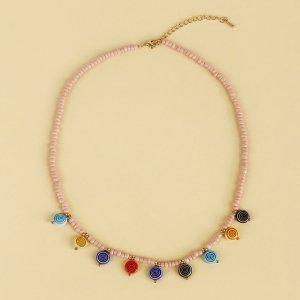 Ожерелье из бисера случайного цвета леденца подвеска SHEIN. Цвет: многоцветный